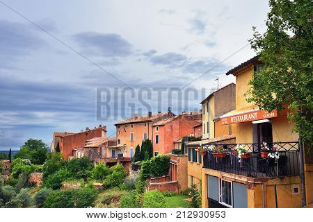 Roussillon France - Jul 07 2014: View on beautiful medieval village of Roussillon ocher village is included in list of