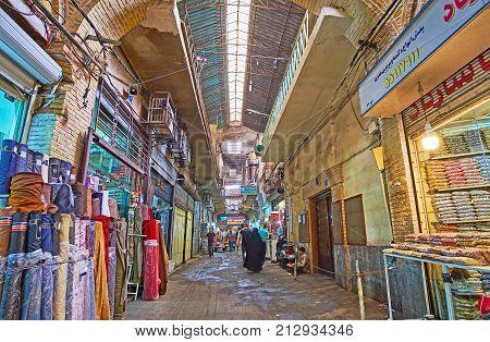 Rolls Of Fabric In Tehran Grand Bazaar