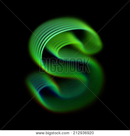 3D letter S logo. Modern eco and bio concept logotype design. Glass letter S consisting of green glowing curves. Good logo for ecological, science, biological companies. Eps 10, vector illustration.