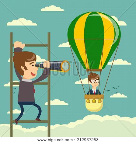 Businessman on a ladder using spyglass above cloud. Vector Illustration Business concept a ladder Corporate of success.
