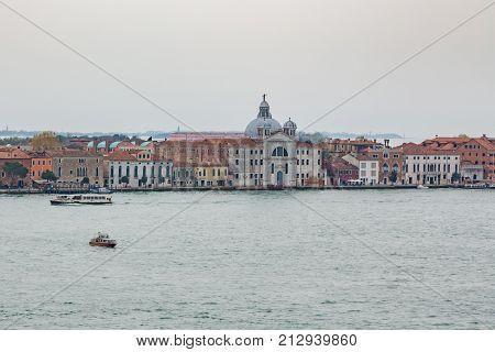San Giorgio Maggiore, Venice Italy. Aerial view at San Giorgio Maggiore island, Venice, Italy. San Giorgio Maggiore church aerial view in Venice, Italy. Basilica San Giorgio Maggiore - Venezia, Italy.
