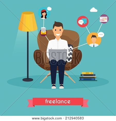 Man working at home. Young man sitting on a chair and using laptop. Freelance self employed freedom in living room.