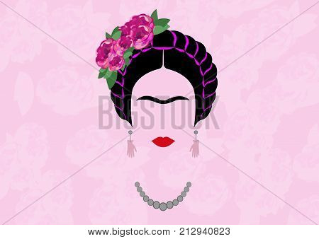 Frida Kahlo vector portrait , young beautiful mexican woman with a traditional hairstyle,  Mexican crafts jewelry, vector isolated or light rose background