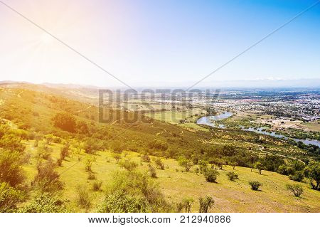 View of the mountains river and city of Talca Chile