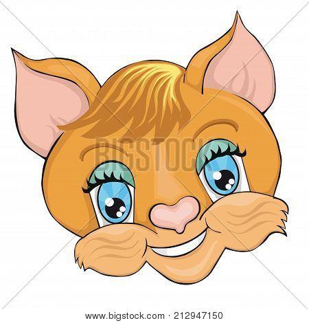 Cat's head. Cartoon style. Clip art for children.