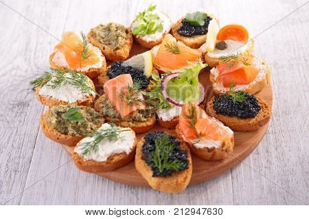 assorted canape,buffet food