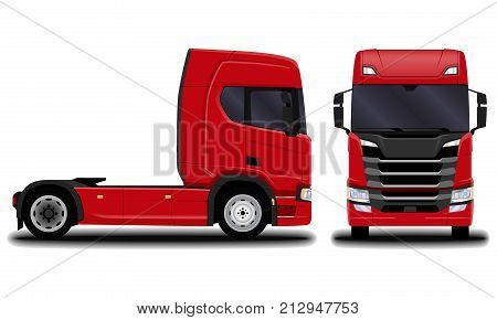transportation. realistic truck. front view; side view.