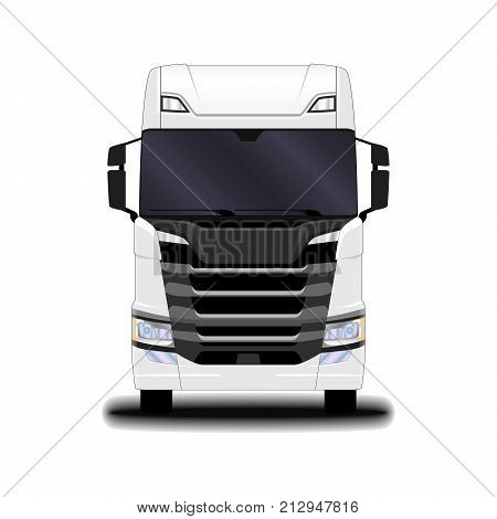 transportation. Big realistic white truck. front view.