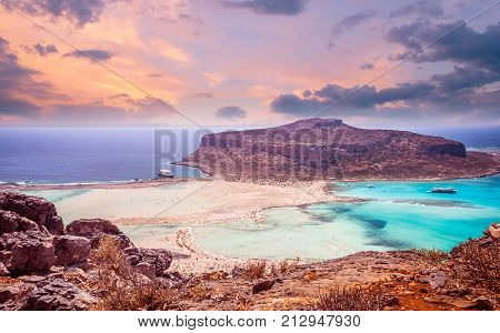 Balos beach, Greece island. Sunset over Balos lagoon on Crete.