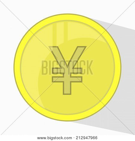 Yen Chinese Coin. Yellow Gold. Vector