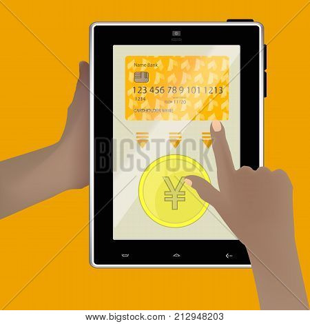 Yen Chinese Coin. Online Payment Concept