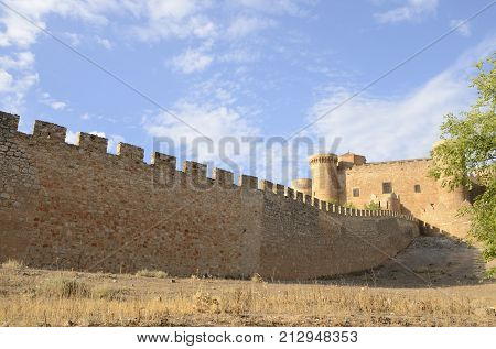 BELMONTE, SPAIN -JULY 29, 2017: Fortress and medieval castle in the village of Belmonte province of Cuenca Spain.