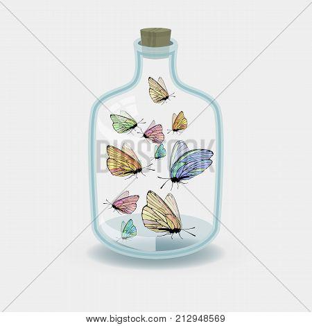 Butterflies In A Jar. Concept Of A Caught Idea