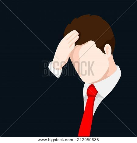 Upset businessman clutching his headAnxious and sad man clutching head. Headache pain. Worried depression sign. Loser. Tired upset person-Vector Illustration.