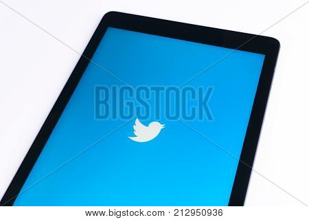 Sankt-Petersburg Russia November 9 2017: Apple iPad Pro on white table open Twitter app. Twitter is an online social networking and microblogging service .Twitter is a social microblogging network run by Twitter Inc.