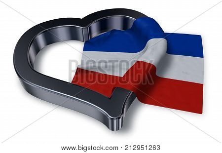 schleswig-holstein flag and heart symbol - 3d rendering
