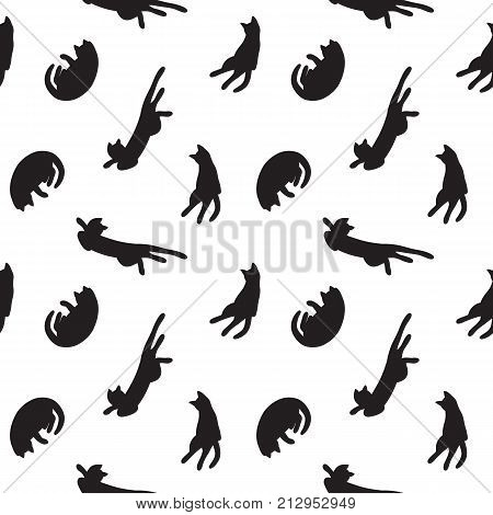 vector hand drawn funny cats, seamless pattern