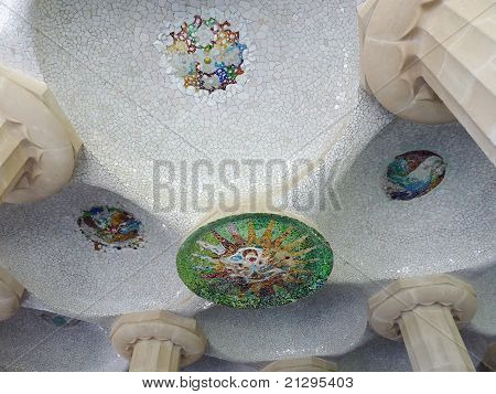 Mosaic Representing The Sun, Park Guell, Barcelona, Spain