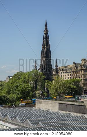 EDINBURGH SCOTLAND - 26th May 2017 Monument to Sir Walter Scott a popular tourist attraction. Scott is famous for writting novels such as Ivanhoe and Rob Roy