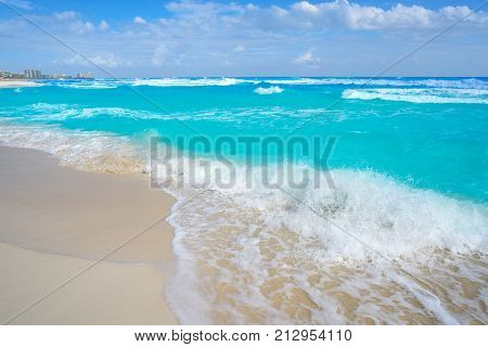 Cancun caribbean white sand beach in Mayan Riviera of Mexico