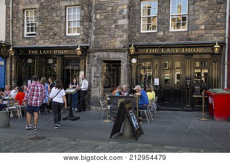 EDINBURGH SCOTLAND - MAy 26TH 2017:The Last Drop public house located on Grassmarket in the old town area of Edinburgh criminals were given their last drink here before being hung in on the gallows outside one of the most famous pubs in Scotland