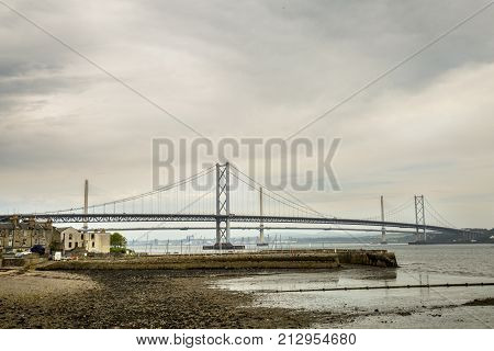 The famous forth of firth road bridge in queensferry Edinburgh