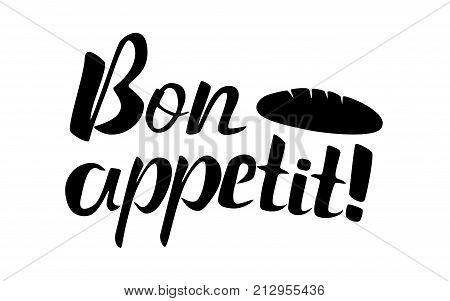 Bon appetit lettering in black and white