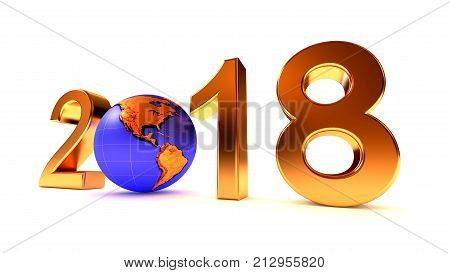 Year 2018 Earth gobe on the white - 3d illustration. America