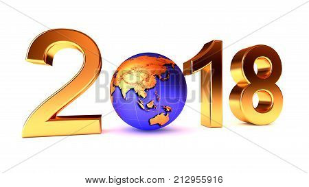 Year 2018 Earth gobe on the white - 3d illustration. Asia, Australia, Japan