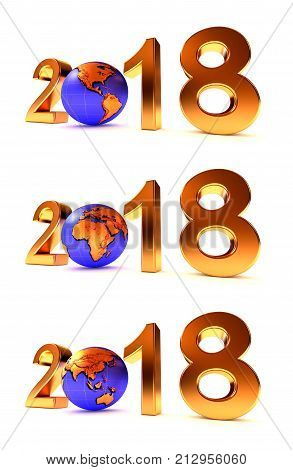 Setof Year 2018 Earth gobe on the white - 3d illustration.