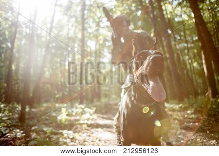 Photo of soldier in helmet and with submachine gun and dog on task in forest poster