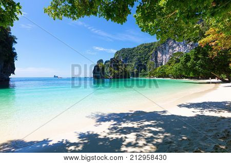 View of tranquil beach against sky on sunny day at Aonang Krabi Thailand