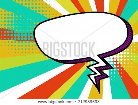 Sunburst picture blank template pop art style comic text speech bubble halftone dot radial background. Comics book dialog empty cloud, cartoon box pop-art. Creative idea conversation sketch explosion