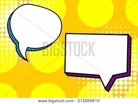Set dialog picture blank template pop art style comic text speech bubble halftone dot background. Comics book dialog empty cloud, space cartoon box pop-art. Creative idea conversation sketch explosion