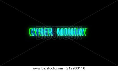 Follow text with bad signal. Glitch effect. 3d rendering