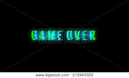 Game over text with bad signal. Glitch effect. 3d rendering