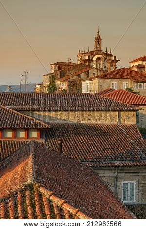 View over the roofs of Tui, Camino de Santiago trail, Spain, Europe