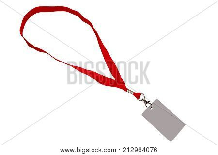 Red strap with a pass isolated on white color.