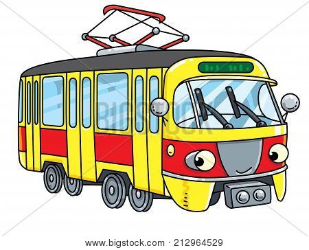 Tram or tramway. Small funny vector cute car with eyes and mouth. Children vector illustration