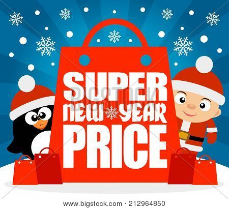 Super New Year Price card with boy penguin.Vector illustration