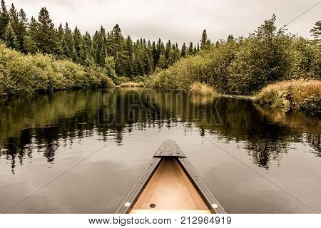 Yellow Canoe Nose on Calm Peaceful Quite Lake in Algonquin Park, Ontario Canada with Tree Reflection Shoreline Pine Tree Forest Shore line