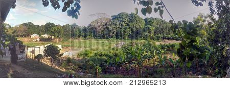 SANTO DOMINGO, DOMINICAN REPUBLIC - OCT 25, 2015: Rural aspect of the outskirts of the city of Santo Domingo in Dominican Republic