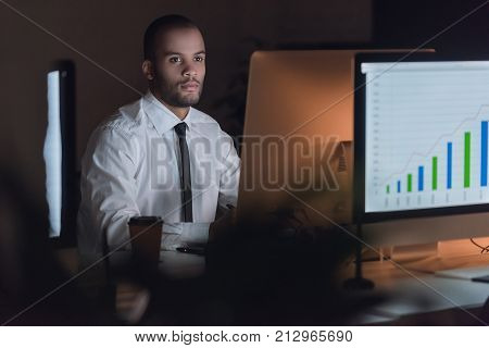 Afro American Businessman Working