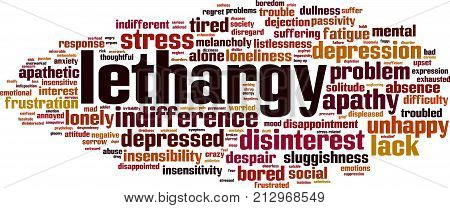 Lethargy word cloud concept. Vector illustration on white