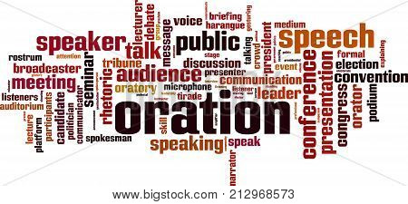 Oration word cloud concept. Vector illustration on white