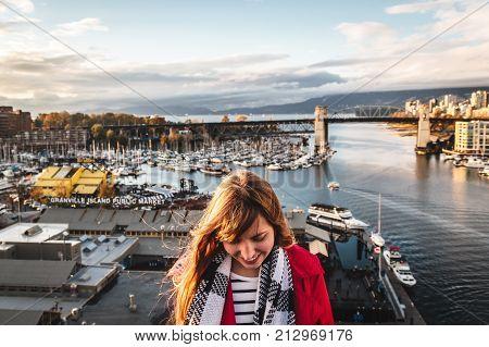 Girl Near Granville Island In Vancouver, Canada