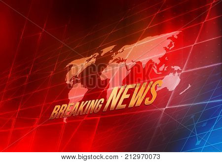 Graphical Digital World Breaking News background World Map Inside Big Flat TV Screen