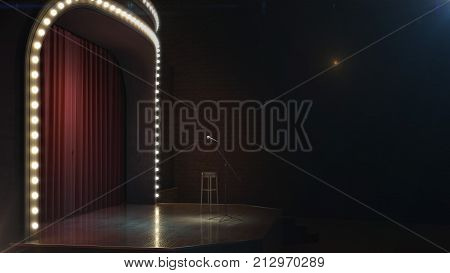 Dark empty comedy cabaret stage. 3d illustration