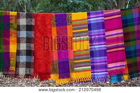 Chichen itza serape blanket in outdoor shop Mexico Yucatan