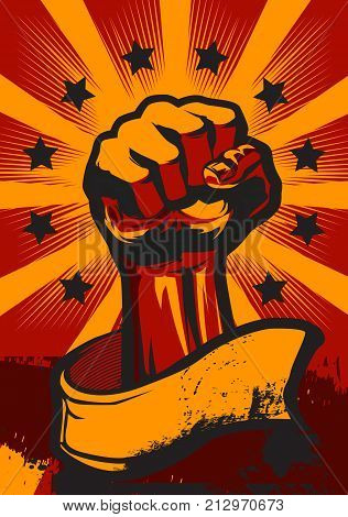 Revolution Fist UP Poster in retro Style